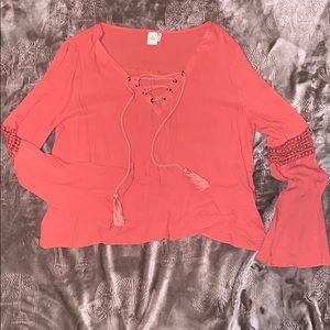 Rust Bell Sleeved Tie up Blouse Size Small